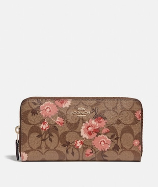 ACCORDION ZIP WALLET IN SIGNATURE CANVAS WITH PRAIRIE DAISY CLUSTER PRINT