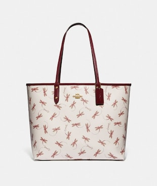 REVERSIBLE CITY TOTE WITH DRAGONFLY PRINT