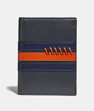 PASSPORT CASE WITH BASEBALL STITCH