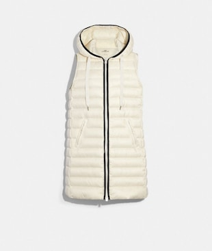 LONG DOWN VEST WITH HOOD