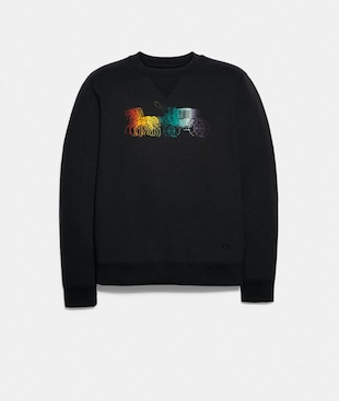 SWEATSHIRT WITH RAINBOW HORSE AND CARRIAGE PRINT