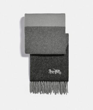 EMBROIDERED HORSE AND CARRIAGE STRIPED OVERSIZED MUFFLER