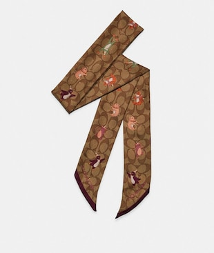 PARTY ANIMALS PRINT GLITTER SILK SKINNY SCARF