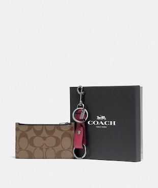 BOXED ZIP CARD CASE AND VALET KEY FOB GIFT SET IN SIGNATURE CANVAS