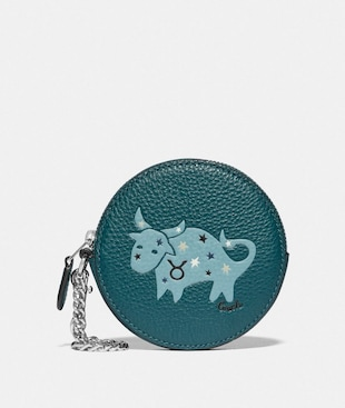 ROUND COIN CASE WITH TAURUS