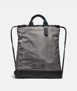 TERRAIN DRAWSTRING BACKPACK IN SIGNATURE JACQUARD