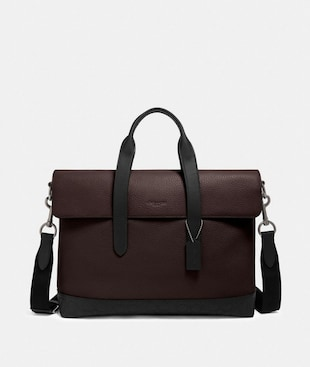 HAMILTON PORTFOLIO BRIEF WITH SIGNATURE LEATHER DETAIL