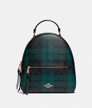 JORDYN BACKPACK IN SIGNATURE CANVAS WITH FIELD PLAID PRINT