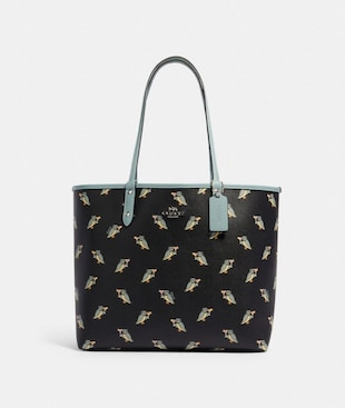 REVERSIBLE CITY TOTE WITH PARTY OWL PRINT