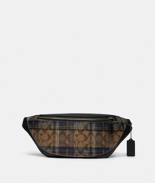WARREN BELT BAG IN SIGNATURE CANVAS WITH PLAID PRINT