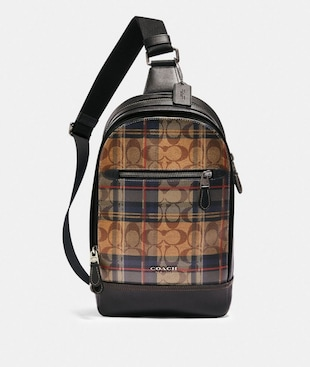 GRAHAM PACK IN SIGNATURE CANVAS WITH PLAID PRINT