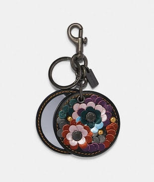 MIRROR BAG CHARM WITH LEATHER SEQUINS