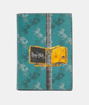 PASSPORT CASE WITH HORSE AND CARRIAGE PRINT