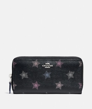 ACCORDION ZIP WALLET WITH DOT STAR PRINT