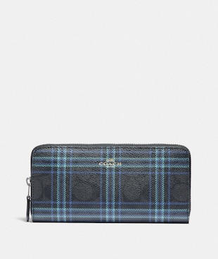 SLIM ACCORDION ZIP WALLET IN SIGNATURE CANVAS WITH SHIRTING PLAID PRINT