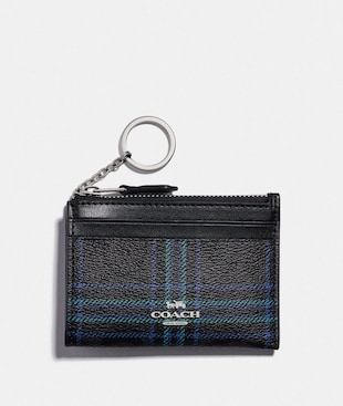 MINI SKINNY ID CASE IN SIGNATURE CANVAS WITH SHIRTING PLAID PRINT