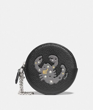 ROUND COIN CASE WITH SCORPIO