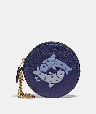 ROUND COIN CASE WITH PISCES