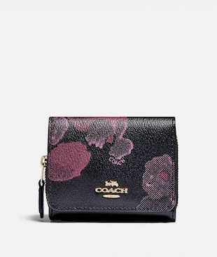 SMALL TRIFOLD WALLET WITH HALFTONE FLORAL PRINT