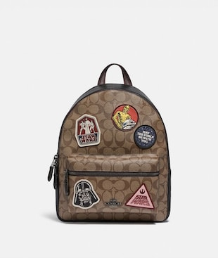 STAR WARS X COACH MEDIUM CHARLIE BACKPACK IN SIGNATURE CANVAS WITH PATCHES