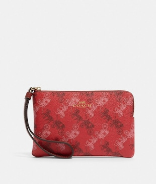 CORNER ZIP WRISTLET WITH HORSE AND CARRIAGE PRINT