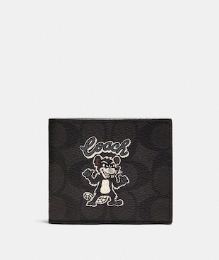 ID BILLFOLD WALLET IN SIGNATURE CANVAS WITH PARTY RAT PRINT