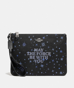 STAR WARS X COACH GALLERY POUCH WITH MAY THE FORCE BE WITH YOU