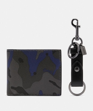 BOXED ID BILLFOLD WALLET AND KEY FOB GIFT SET IN SIGNATURE CANVAS WITH CAMO PRINT