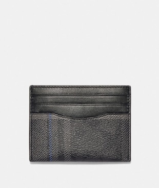 SLIM CARD CASE IN SIGNATURE CANVAS WITH GRACE PLAID PRINT