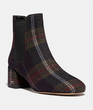 TIA BOOTIE WITH PLAID PRINT