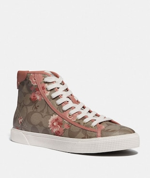 C207 HIGH TOP SNEAKER WITH FLORAL PRINT