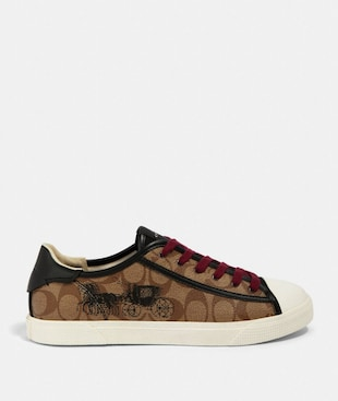 C136 LOW TOP SNEAKER WITH HORSE AND CARRIAGE PRINT