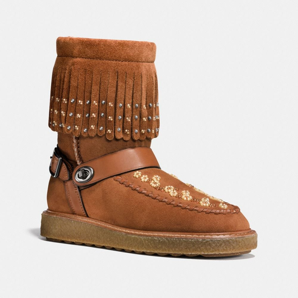 ROCCASIN SHEARLING BOOT WITH BEADS