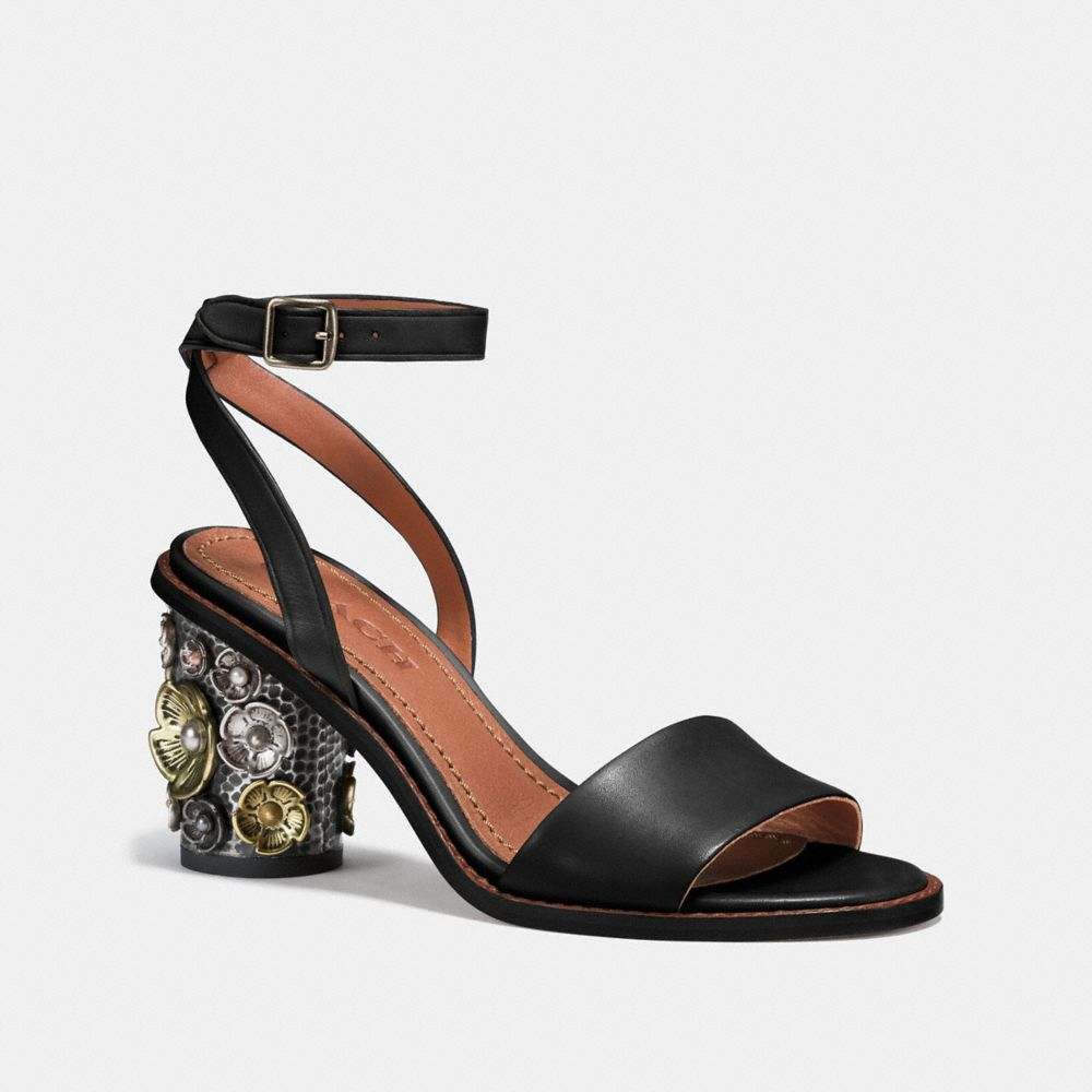 MID HEEL SANDAL WITH TEA ROSE