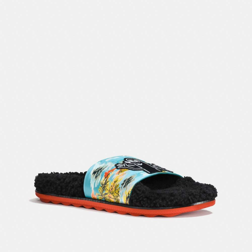 COACH X KEITH HARING SHEARLING SLIDE