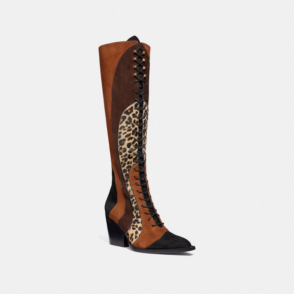 LACE UP BOOT WITH PATCHWORK LEOPARD