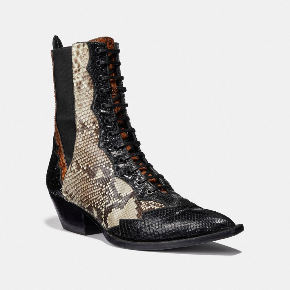 LACE UP BOOTIE WITH PATCHWORK SNAKE