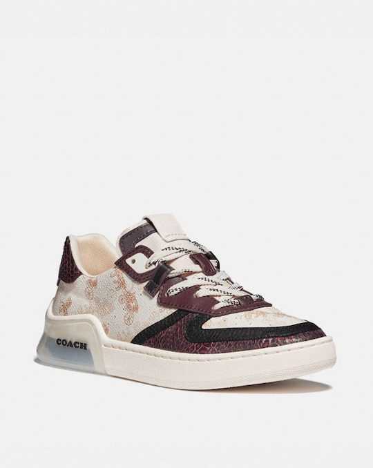 CITYSOLE COURT SNEAKER WITH HORSE AND CARRIAGE PRINT AND SNAKESKIN DETAIL