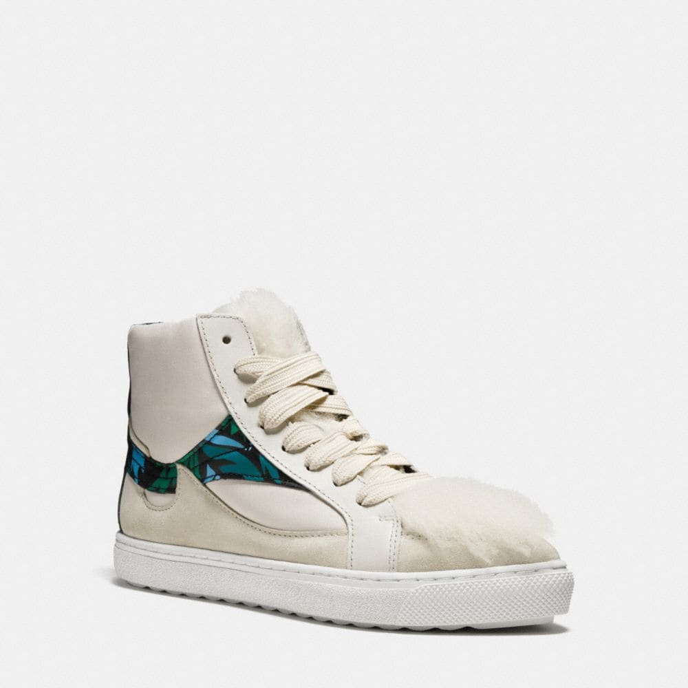 C203 SHEARLING POINTY TOE HIGH TOP SNEAKER