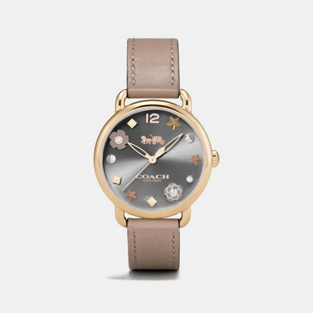 DELANCEY LEATHER STRAP WATCH WITH CHARM DIAL