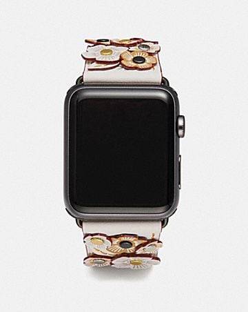 APPLE WATCH® STRAP WITH TEA ROSE APPLIQUE