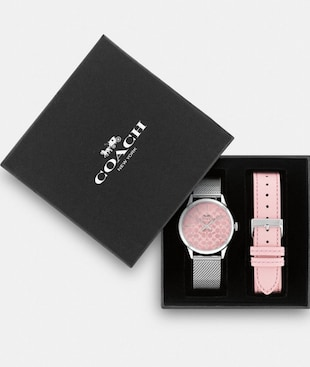 BOXED RUBY WATCH GIFT SET, 32MM