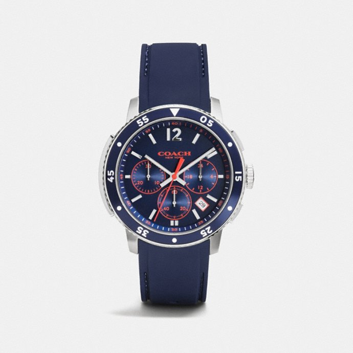coach men s watches bleecker sport stainless steel chrono rubber strap watch