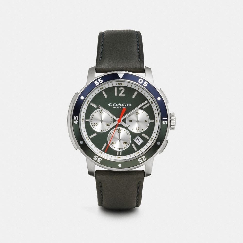 BLEECKER SPORT STAINLESS STEEL CHRONO STRAP WATCH