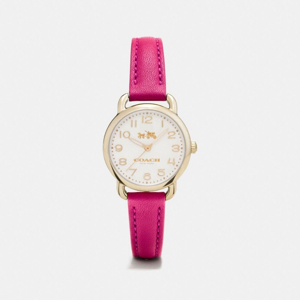 DELANCEY CARNATION GOLD TONE SUNRAY DIAL LEATHER STRAP WATCH