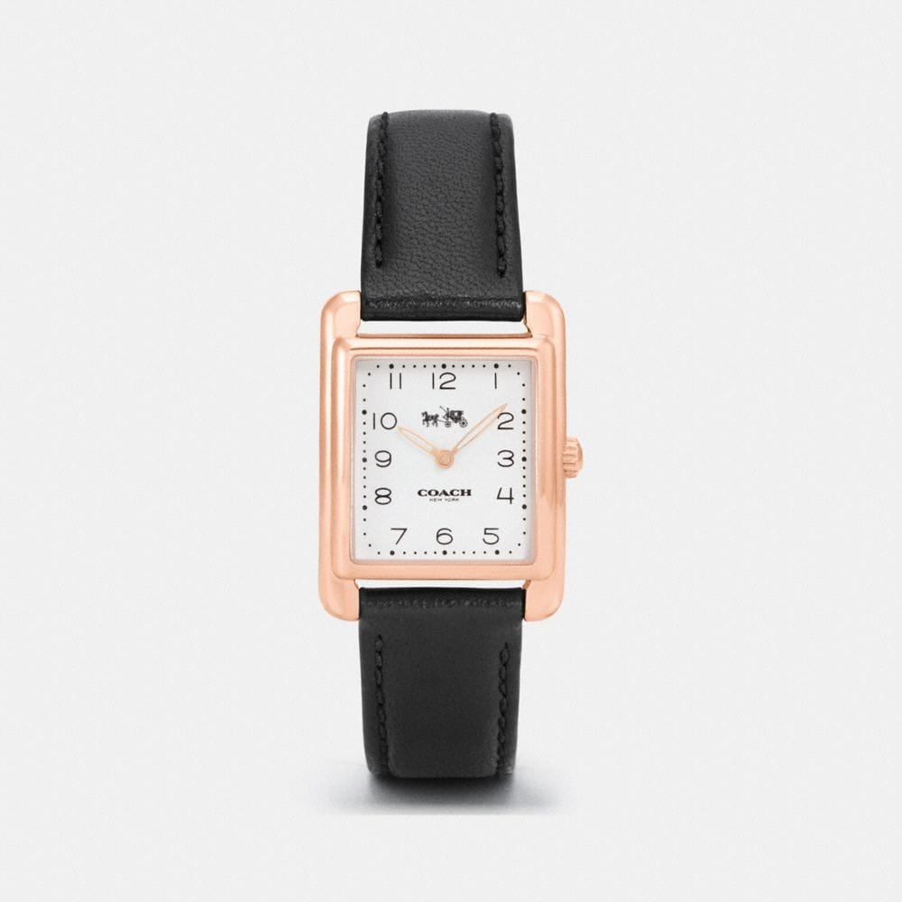 PAGE ROSE GOLD TONE LEATHER STRAP WATCH